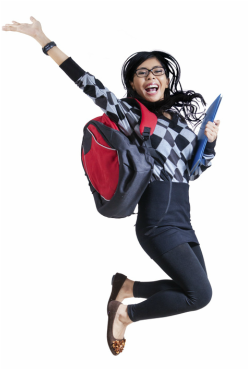 Happy student jumping for joy because she know how to join the 5% in a great job and get paid to do what they love.