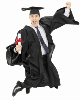 Graduate jumping for joy because he has found his path to joining the 5% in a great job and getting paid to do what he loves.